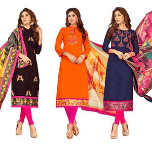 Entrancing Partywear Embroidered Cotton Suit - Pack of 3