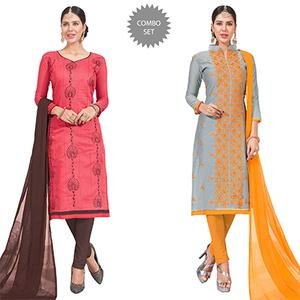 Deserving Embroidered Chanderi Silk Suit - Pack of 2