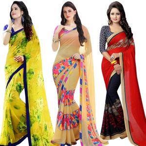 Majesty Casual Printed Georgette Saree - Pack of 3
