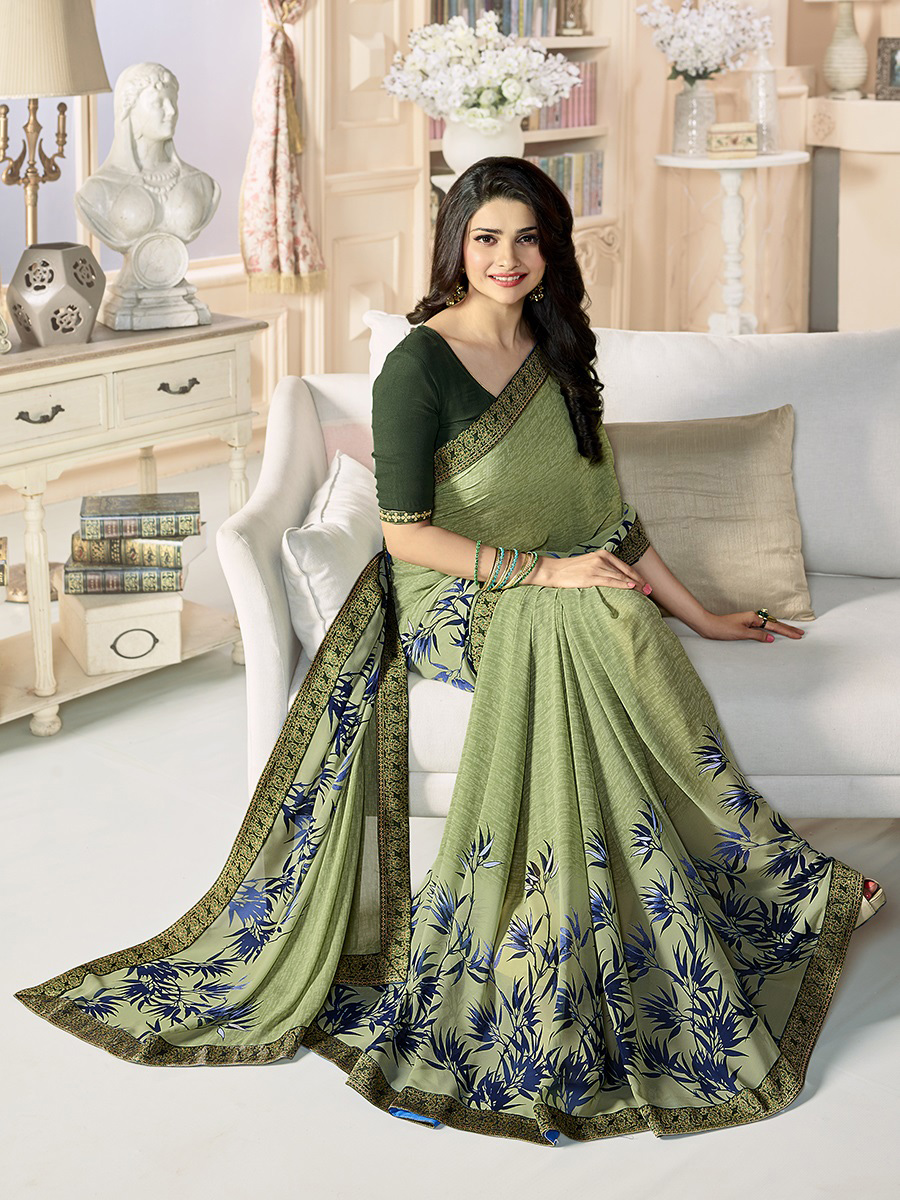 Olive Green - Blue Casual Wear Floral Printed Saree