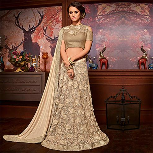 Mesmerizing Beige Colored Designer Embroidered Partywear Half-Half Net-Jacquard Lehenga Saree