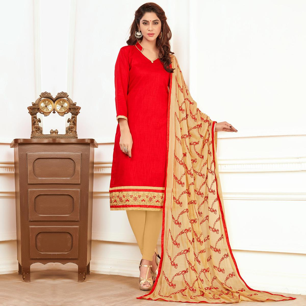 Invaluable Red Colored Casual Wear Cotton Suit