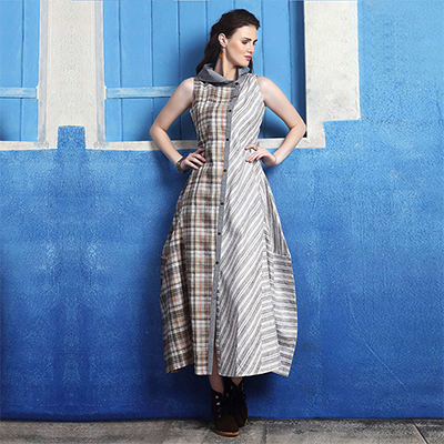 Trendy Grey Colored Checks-Stripes Printed Cotton Silk Kurti