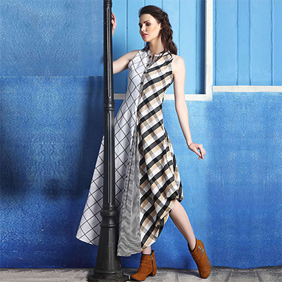 Eye-Catching Multi Colored Checked Cotton Silk Kurti