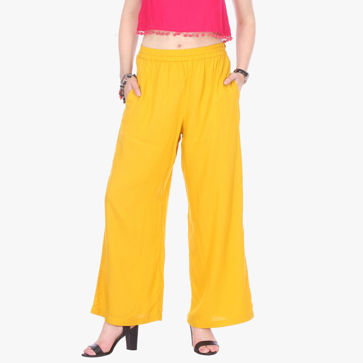 Yellow Casual Wear Cotton Palazzo