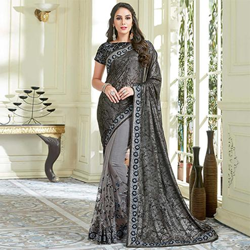 Intricate Black - Grey  Colored Designer Embroidered Work Party Wear Net Saree