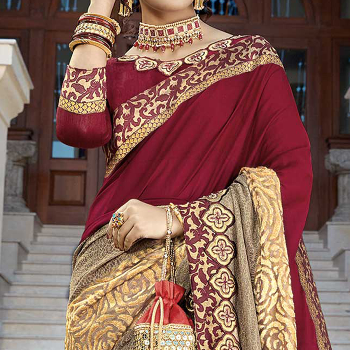 Stylish Red-Beige Colored Partywear Embroidered Art Silk Saree