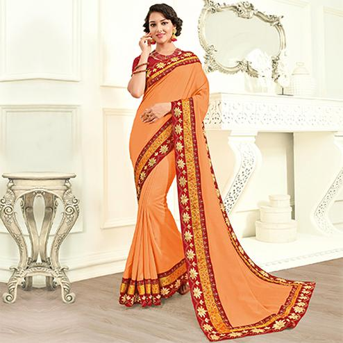 Adorning Orange Colored Embroidered Work Party Wear Chiffon Saree