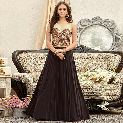 Pretty Brown Colored Designer Embroidered Work Fancy Fabric Gown