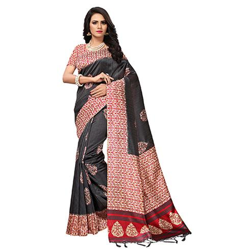 Stunning Black Colored Printed  Mysore Art silk Saree