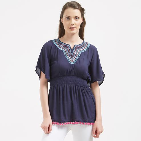 Adorning Navy Blue Colored Casual Party Wear Western Cotton Top