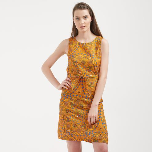 Brightening Yellow Colored Casual Wear Western Crape Dress
