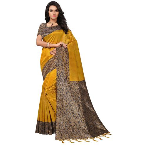 Glowing Yellow Colored Casual Printed Mysore Art Silk Saree