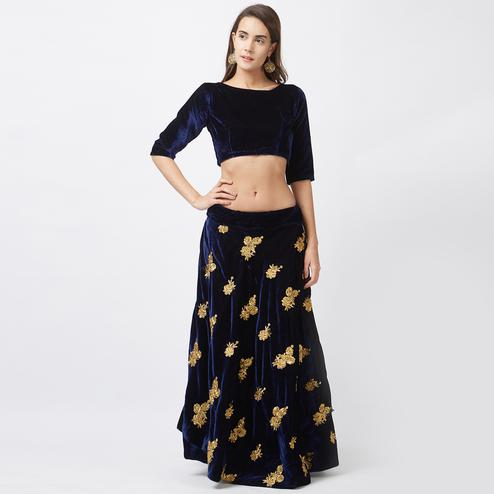 Blue Party Wear Velvet Lehenga Choli