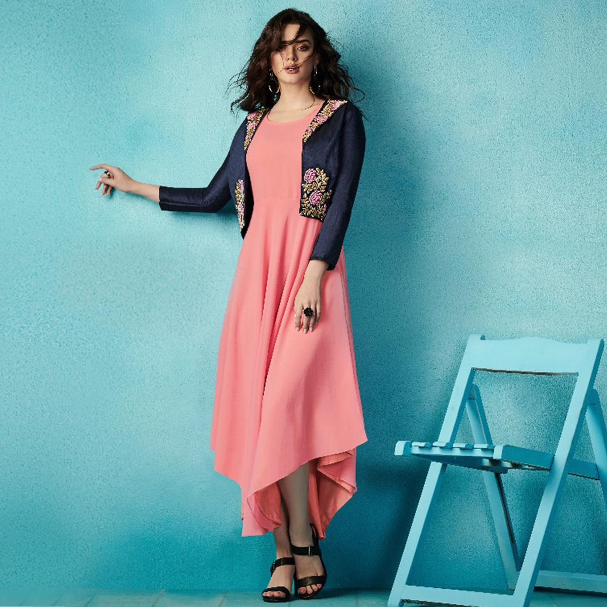 Majesty Pink-Blue Colored Embroidered Party Wear Faux Georgette Kurti