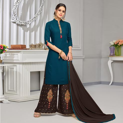 Magnetic Teal Blue Colored Partywear Embroidered Rayon Palazzo Suit