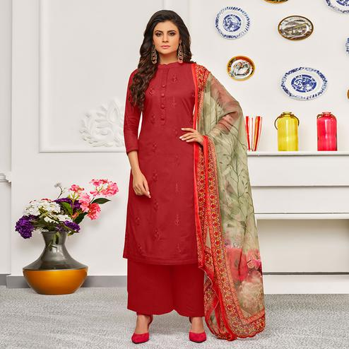 Appealing Red Colored Partywear Embroidered Cotton Suit