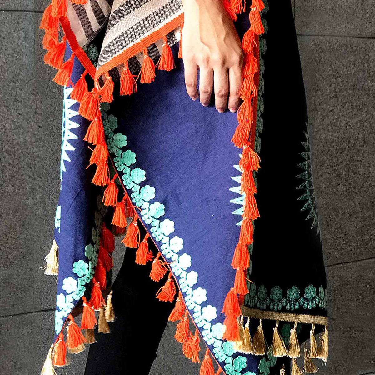 Blooming Multi Colored Embroidered Linen Stole