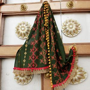Amazing Dark Green Colored Embroidered Linen Stole