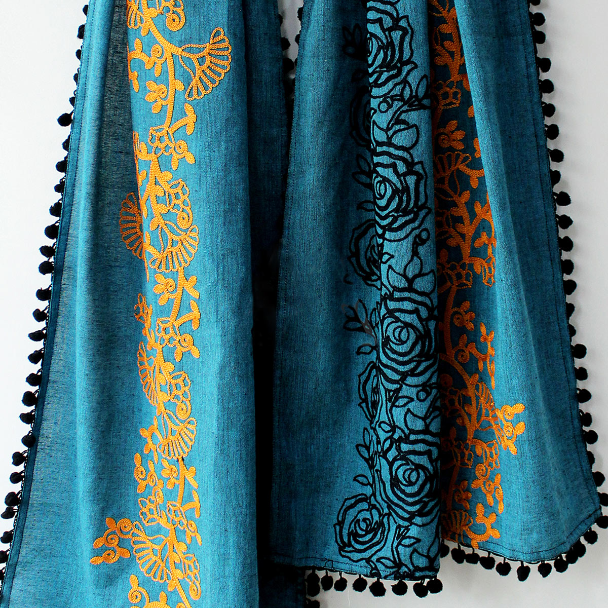 Lovely Blue Colored Embroidered Linen Stole