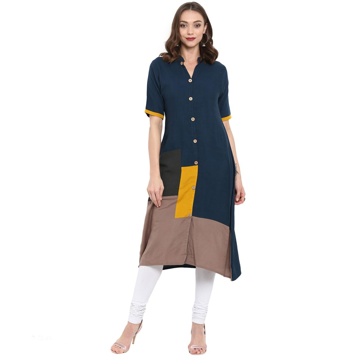 Radiant Teal Blue Colored Casual Wear Long Cotton linen Kurti