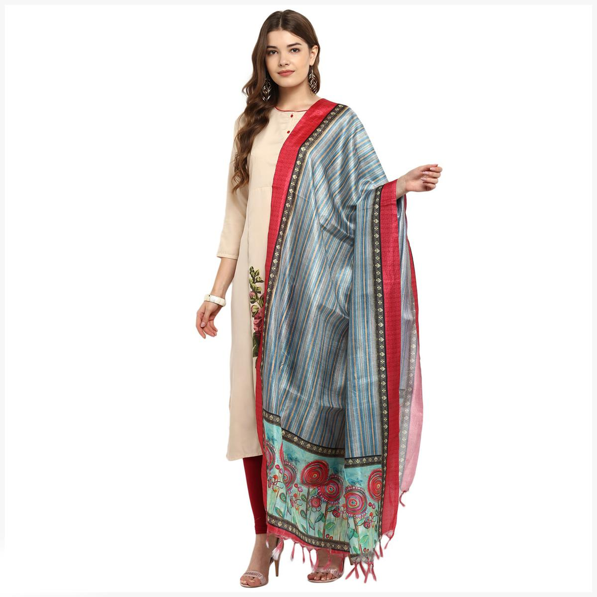 Marvellous Grey Colored Digital Printed Cotton Silk Dupatta