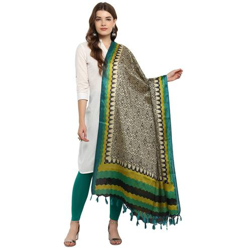 Refreshing Black-Green Colored Casual Printed Khadi Silk Dupatta