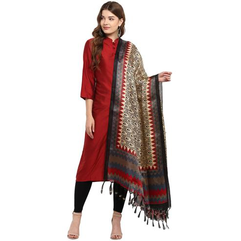 Glowing Beige-Brown Colored Casual Printed Khadi Silk Dupatta