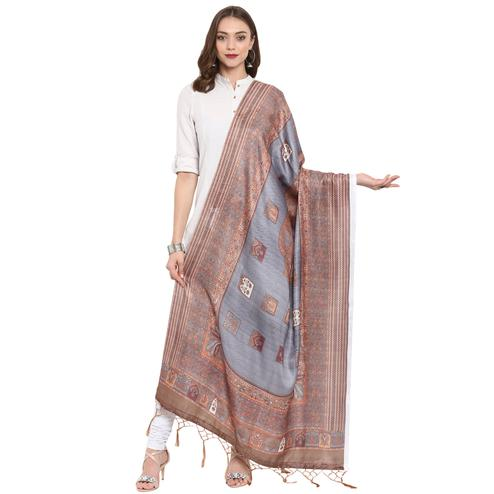 Blissful Slate Grey-Brown Colored Casual Printed Pashmina Silk Dupatta