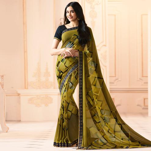 Mehendi Green Colored Casual Wear Printed Georgette Saree