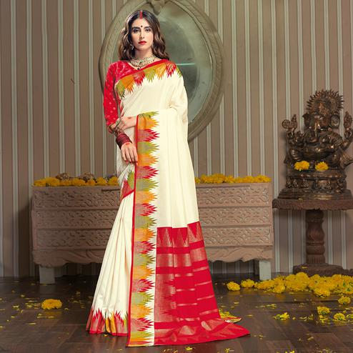 Ravishing Cream Colored Festive Wear Patola Silk saree