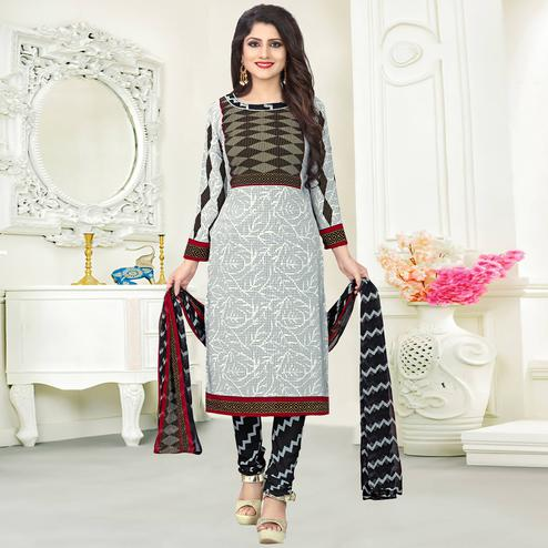 Exotic Light Grey Colored Casual Wear Printed Crepe Salwar Suit