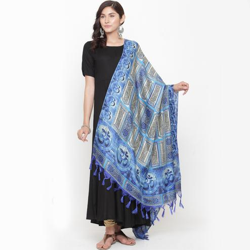Unique Blue Colored Casual Printed Khadi Silk Dupatta