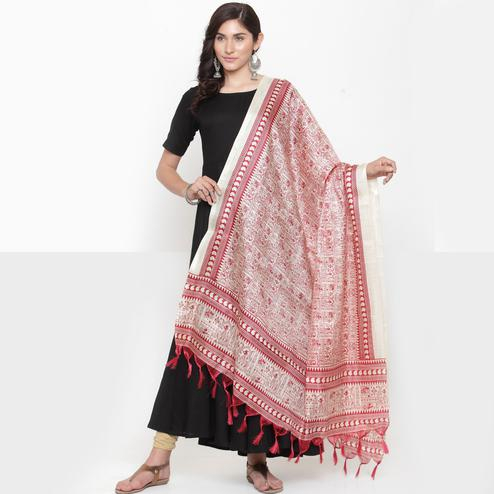 Sensational Red Colored Casual Printed Khadi Silk Dupatta
