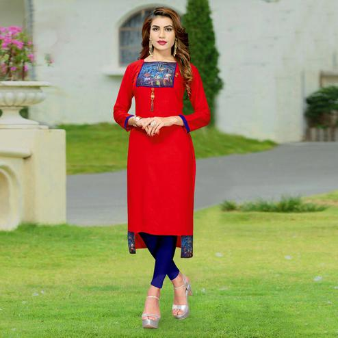Groovy Red Colored Casual Wear Rayon Kurti