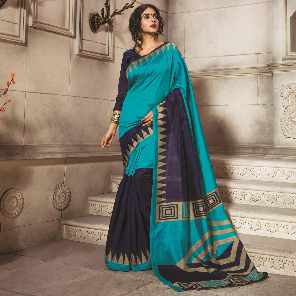 Turquoise - Blue Traditional Wear Bhagalpuri Saree