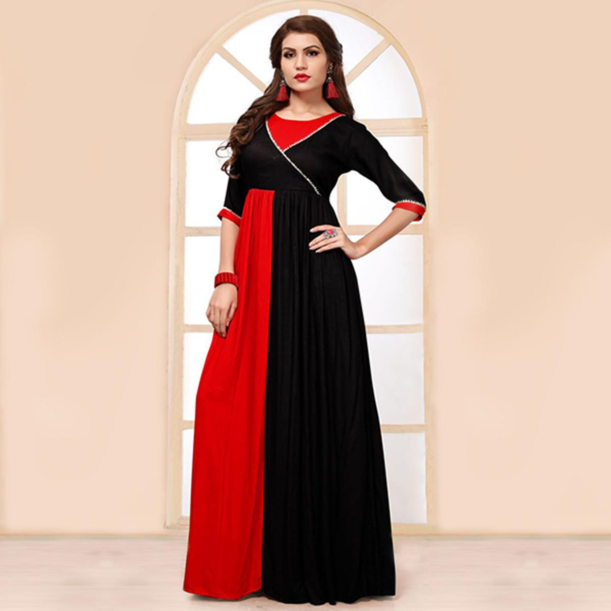 Ravishing Black-Red Colored Party Wear Fancy Heavy Rayon Kurti