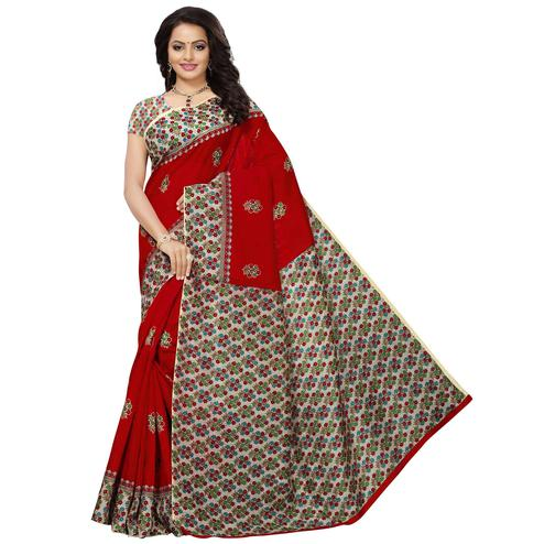 Lovely Red Colored Casual Printed Mysore Silk Saree