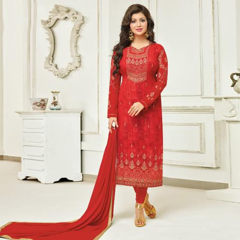 Glorious Red Colored Partywear Embroidered Faux Georgette Suit