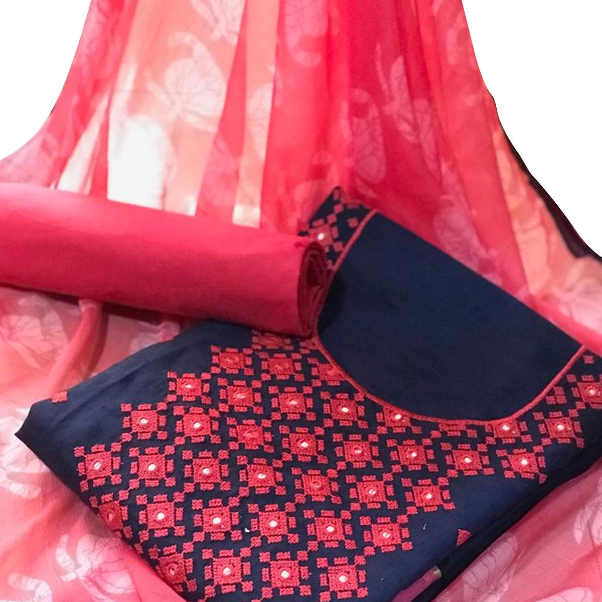 Adorning Navy Blue - Pink Colored Party Wear Embroidered Cotton Salwar Suit