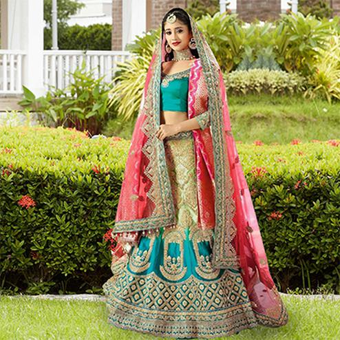 Alluring Green-Pink Designer Embroidered Satin Silk Lehenga Choli