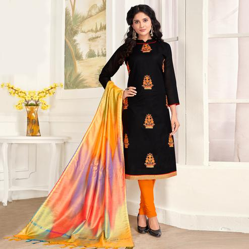 Opulent Black Colored Party Wear Embroidered Salwar Suit