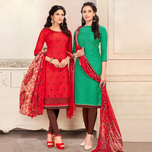 Arresting Red And Green Colored Dual Top Chanderi - Cotton Dress Material