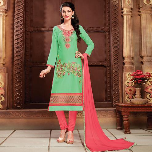 Alluring Green Colored Party Wear Embroidered Cotton Dress Material