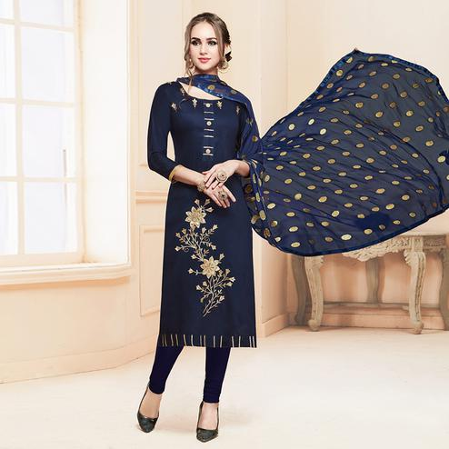 Stylish Navy Blue Colored Partywear Embroidered Cotton Dress Material