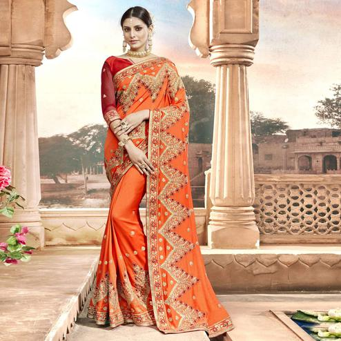 Imposing Orange Colored Partywear Embroidered Chanderi Silk Saree