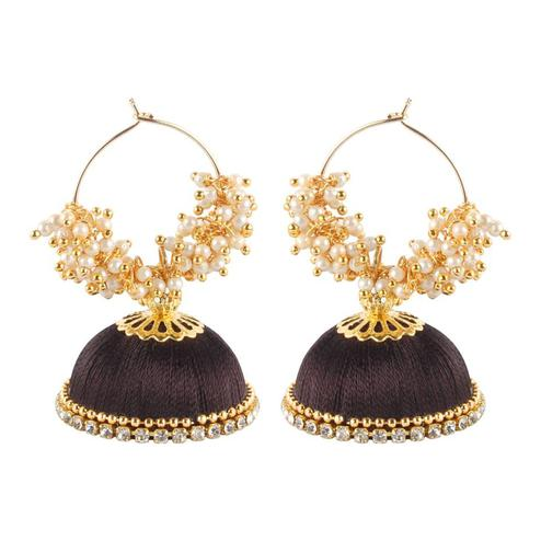 Intricate Brown Colored Resham Thread Work Mix Metal Earring