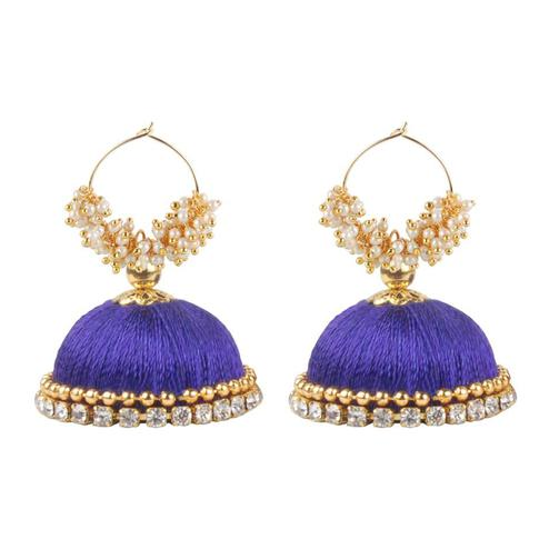 Glorious Violet Colored Resham Thread Work Mix Metal Earring
