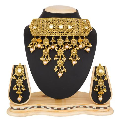 Stunning Golden Colored Stone Work Mix Metal Necklace Set
