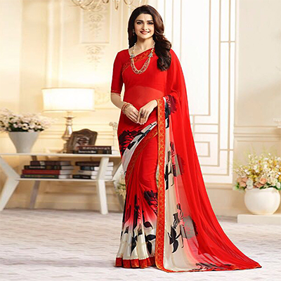 Charming Red Casual Printed Georgette Saree